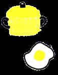 鍋と目玉焼き